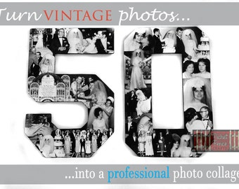 Custom Alphabet Collage Numbers Set for 50th Wedding Anniversary Gift, Unique Photo Gift for Anniversary Present
