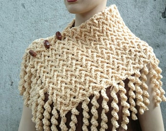 INSTANT DOWNLOAD Zigzag Curly Neck Warmer Scarf - Crochet Pattern