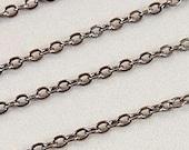 Bright Gunmetal Plated Brass 2mm x 1.6mm Flat Cable Chain, Destash