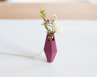Tall Vase Necklace in Burgundy: A Wearable Planter