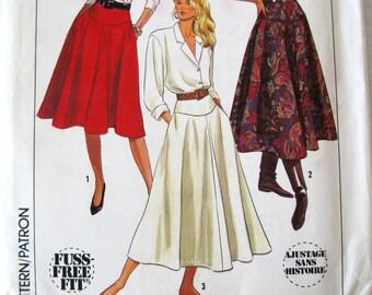 1980s Yoked Skirt Pattern Simplicity 9317 Womens Flared Maxi Midi or Knee Length Skirt Pattern, Size 8 10 12 Waist 24 - 26.5, UNCUT
