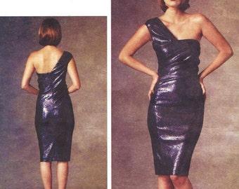 Donna Karan Womens One Shoulder Dress OOP Vogue Sewing Pattern V1427 Size 6 8 10 12 14 Bust 30 1/2 to 36 UnCut American Designer