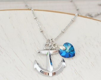 silver anchor necklace, bermuda blue heart jewelry, nautical sailor anchor necklace, bridesmaid, symbolic friendship gift, couples necklace
