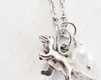 silver dinosaur necklace, animal necklace, charm necklace, gift idea, tiny dinosaur, birthday, friend necklace, walking dinosaur, bff gift