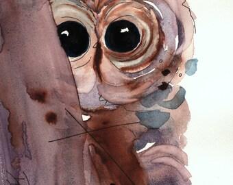 8x10inch Woodland Art Print, Fine Art Owl Print,Nursery Art