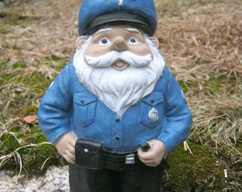 Police Gnome Statue, Garden Gnomes, Concrete Gnome, Cement Cop, Garden Gnome Statues, Stone Policeman Officer Figure, Gnome Garden Decor
