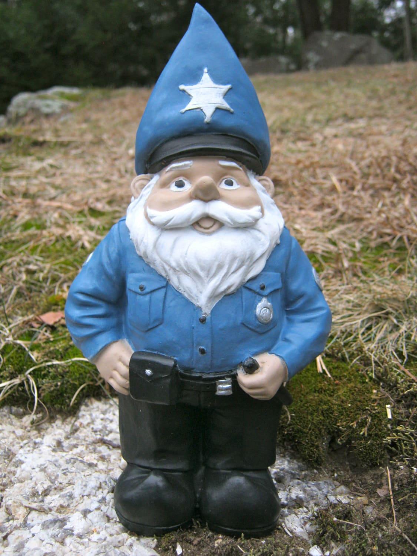 Gnome In Garden: Police Gnome Statue Garden Gnomes Concrete Gnome Cement