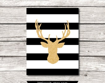 Gold Glitter Black and White Striped Deer  Printable, Deer Art Print,  Instant Download