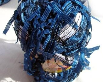 Yarn with tassels. Yarn Brasilia in blue and silver. Unique ladder yarn with ribbon pendants tassels. Color 06.