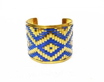 Vintage Bracelet Brass Woven Chevron Cuff Bracelet