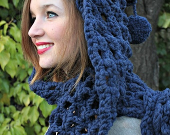 Chunky blue crochet hooded scarf / head shawl. Chunky flower scarf. Pure french wool.