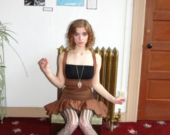 Mini Steampunk inspired brown ruffled dress