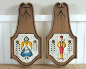 Pair Chalkware Folk Plaques 1965 Richter Artcraft