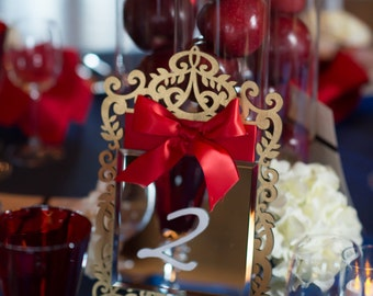Snow White Inspired Mirror Table Number