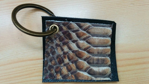 Leather keychain, leather keyring, snake keychain, python keychain,leather tag, genuine leather, keychain, brown keychain,men keychain