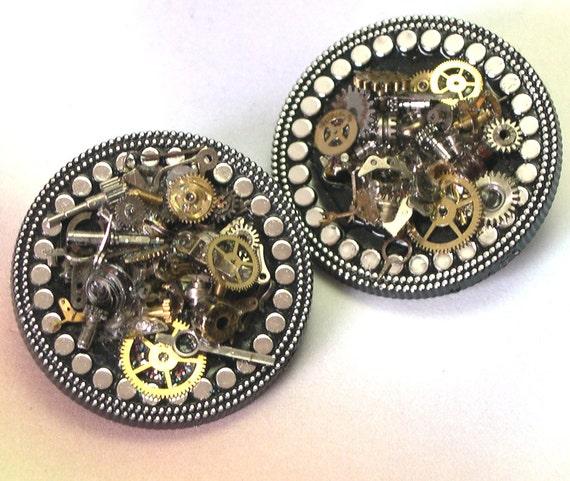 Recycled Repurposed Handmade Gears Steampunk Brooch, watch gear brooch, watch parts pin, steam punk brooch, eco friendly, unique