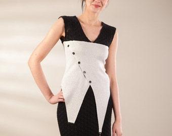 Upcycled vest, black and light grey vest, knit jersey vest, asymmetric vest, lace jersey vest, original design vest, pullover vest