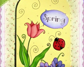 E PATTERN - Spring Fling! Sweet & Simple Flowers and LadyBug - Designed and Painted by Sharon Bond - FAAP