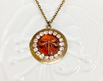 Locket Necklace, Dragonfly Locket, Topaz Glass Cabochon Jewel, Anitqued Brass Photo Locket, Amber Necklace November Birthstone Mom Gift Idea