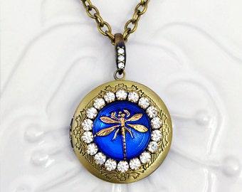 Sapphire Dragonfly Locket Necklace, Blue Glass Cabochon Jewel, Anitqued Brass Photo Locket, September Birthstone Mom Gift Idea