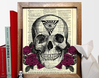 Occult Skull And Roses, Home, Kitchen, Nursery, Bath, Office Decor, Wedding Gift, Eco Friendly Book Art, Vintage Dictionary Print 8 x 10 in.