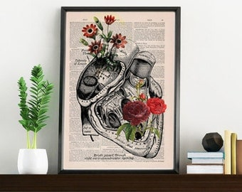 BOGO Sale Flowery Heart human Anatomy Print on dictionary page gift , love wall art, human anatomy, science & anatomy art SKA080