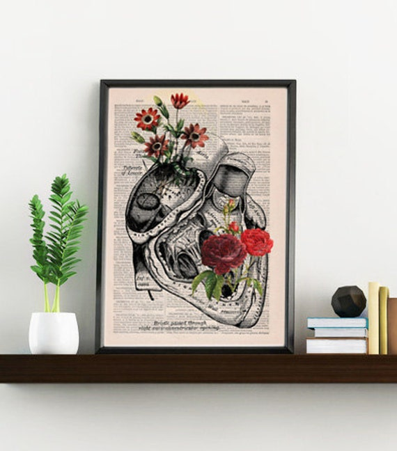 Summer Sale Flowery Heart human Anatomy Print on dictionary page gift , love wall art, human anatomy, science & anatomy art SKA080