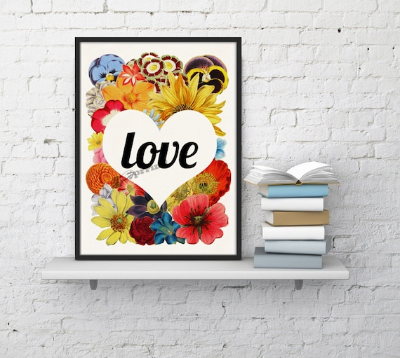 Christmas Sale Wall decor Love Flowers Typography poster - White paper art print Love flowers collage decor dorm,aniversary Gift  BFL097WA4