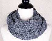 Grey Infinity Scarf, gray scarf, soft cotton scarf, infinity scarves, marbled scarf, circle scarf, black and grey scarf