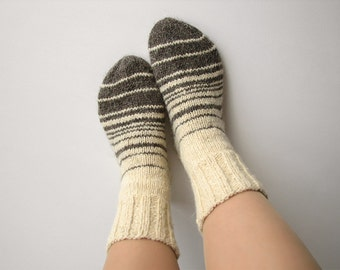 Striped Hand Knitted Women's Woolen Socks - 100% Natural Organic Undyed Clothing