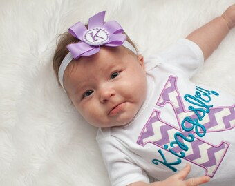 Monogram Baby Girl Clothes Chevron Personalized Baby Take Home Outfit Great for Twin Girls Preemie to 24 mon Baby Gifts