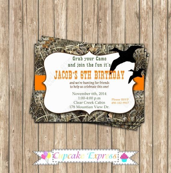 Camo Boy Duck Hunting Birthday Party Printable Invitation 5x7
