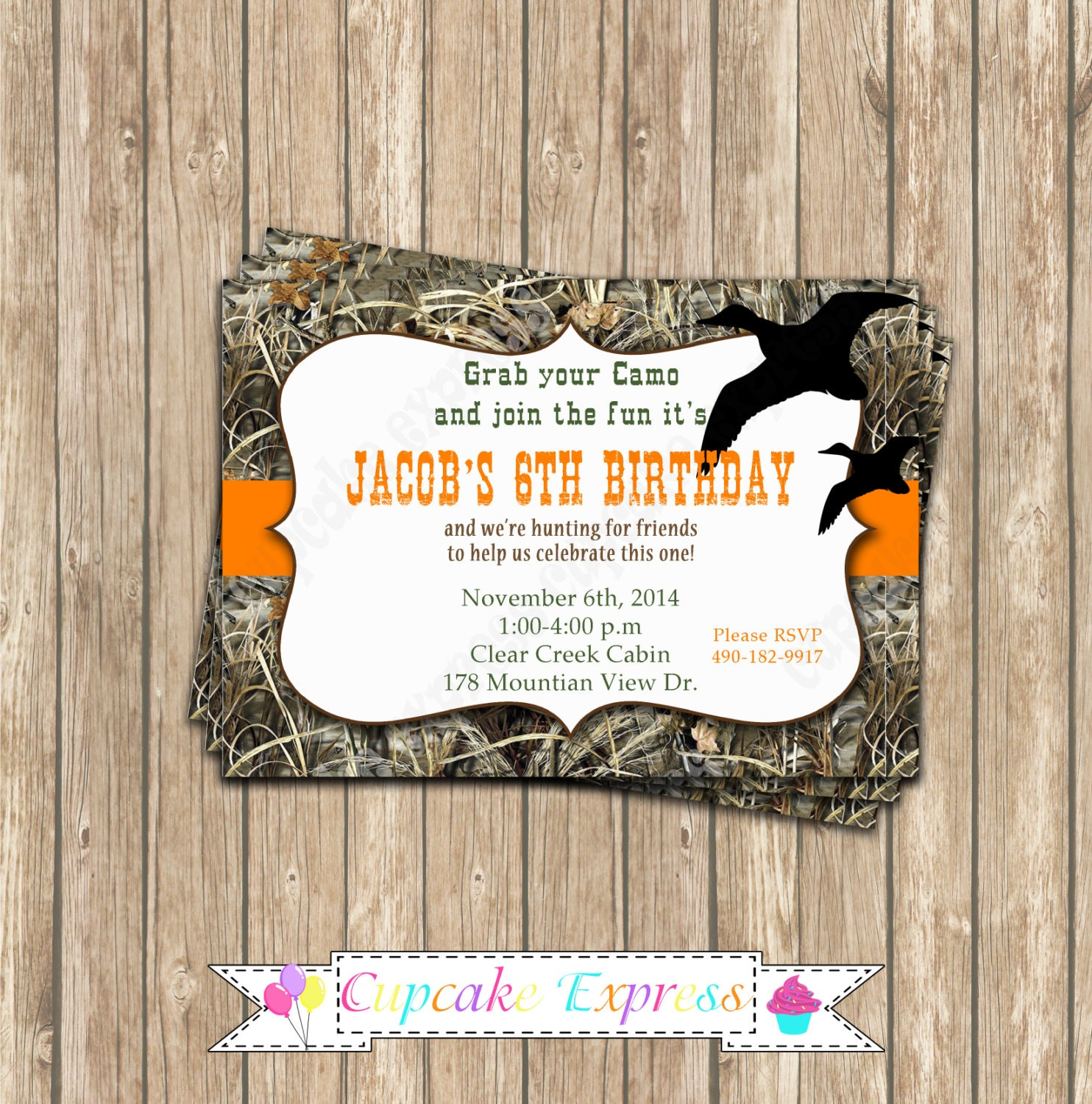Camo Boy Duck Hunting Birthday Party PRINTABLE Invitation 5x7