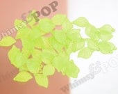 50 - Lime Green Acrylic Leaf Bead Findings, Leaf Beads, 18mm x 11mm (R4-109)