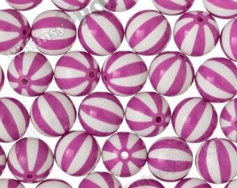 20mm - Violet Beach Ball Gumball Beads, 20mm Beach Ball Beads, 20mm Gumball Beads, Chunky Beach Ball Beads, 2MM Hole