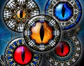 Rift Eyes - Oculus - Digital Collage Sheets CG-645 1.5 in, 1.25 in, 30mm, 1 in, 25mm - Printable Images for Jewelry, Crafts, Bottle Caps