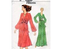 1970s Mock Wrap Floaty Dress Pattern Vogue 9942 Vintage Sewing Pattern Maxi or Knee Length Dress Sexy Disco Era Fashion Bust 32.5