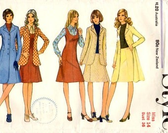 1970s Coat, Jacket, Dress and Skirt Pattern Style 3656 Vintage Sewing Pattern Bust 36 Princess Line Winter Coat and Pinafore Dress