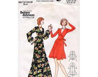 1970s Betsey Johnson Dress Pattern Butterick 3291 Designer Vintage Sewing Pattern Bust 34 Flared Maxi or Knee Length V Neck Dress