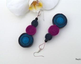 Handmade Turquoise Grey Purple Pink Felt Dangle Earrings OOAK Eco-Friendly