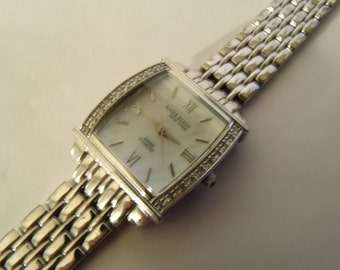 Ladies Watch 20 Diamond Silver Tone MOP Dial Square