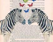 Zebra with butterflies, Animal Painting, Decorative Art, Zebra Print, Zebra Painting, Kids Room, Butterfly Poster, Zebra Poster coco