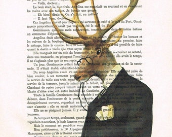 Deer reading newspaper Print Print Illustration Acrylic Painting Animal Painting Deer Picture writer Art deer illustration deer painting