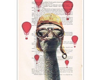 Ostrich with airballoons, art print ostriches on antique book page or music page dictionary bird print