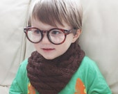 Brown Boys Scarf - Brown Cowl - Brown Snood - Children's knitted scarf - Brown Scarf