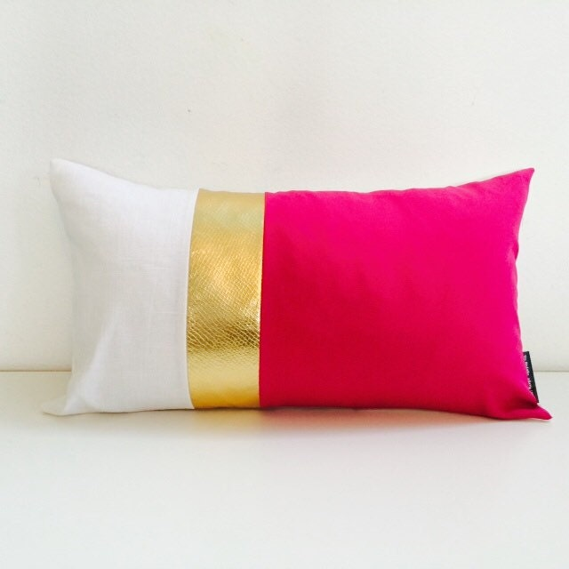 Modern Glam Pillows : Hot Pink Pillow Cover 14x24 Cushion Lumbar Fuchsia Metallic Gold White Linen Modern Glam Fabric ...
