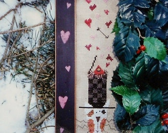 CLEARANCE Fanci That Primitive HAT Of The Month FEBRUARY Folk Art - Counted Cross Stitch Pattern Chart