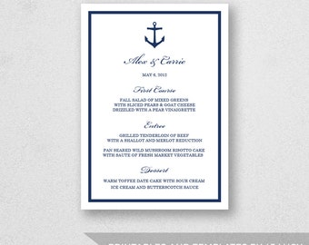 Wedding Menu Template Printable - INSTANT DOWNLOAD - For Word and Pages - Mac and PC - ANchor - 5 x 7 inches