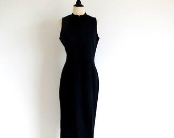 Black Star Dress, Vintage Cheongsam, Long Black Dress, Made in the U.S.A.