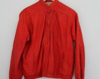 1980s Red Lamb Suede Coat Oversized Vintage Motorcycle Jacket Moto Bomber Womens Vintage Large